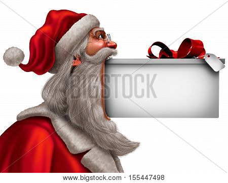 Christmas funny sign as santa claus with a big gift in his mouth with blank copy space as a winter celebration message symbol with 3D illustration elements.