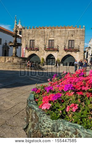 VIANA DO CASTELO PORTUGAL - SEPTEMBER 22 2016: Famous Town Hall at the Praca da Republica in Viana do Castelo Portugal.