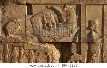 Bas relief carving of a lion hunting a bull beside an embossed soldier on one of the staircases in Persepolis UNESCO World Heritage Site near Shiraz belonging to Achaemenid Empire 500 BC.