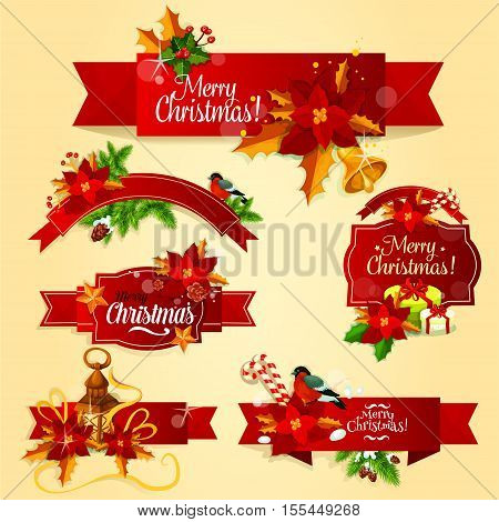 Christmas red ribbon banner and label set with holly berry, fir and pine branches, gift box with ribbon bow, golden star and bell, poinsettia flower, candy cane, bullfinch and candle lantern