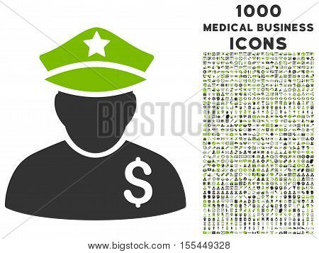 Financial Policeman vector bicolor icon with 1000 medical business icons. Set style is flat pictograms, eco green and gray colors, white background.