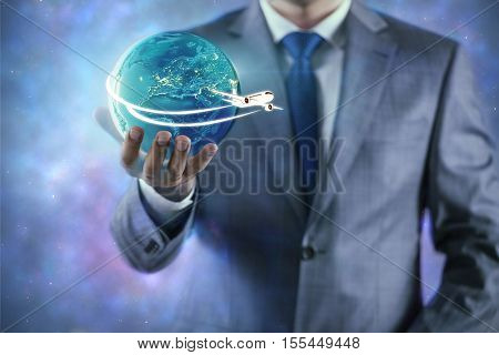 Businessman in air travel concept