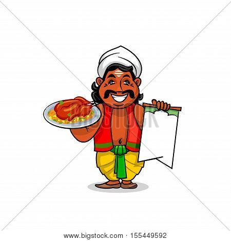 Indian cuisine icon. Indian chef cook in national clothing holding menu card template and grilled chicken with curry rice and vegetables on dish. Vector emblem for restaurant signboard, menu, decoration