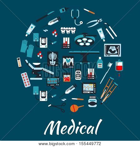 Medical infographic poster background. Vector symbols and icons of health care equipment and therapy syringe, nurse and dropper, pill and ointment, x-ray, stethoscope, tooth, dentist chair, gloves, tonometer