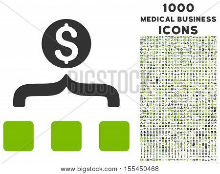 Money Aggregator vector bicolor icon with 1000 medical business icons. Set style is flat pictograms, eco green and gray colors, white background.