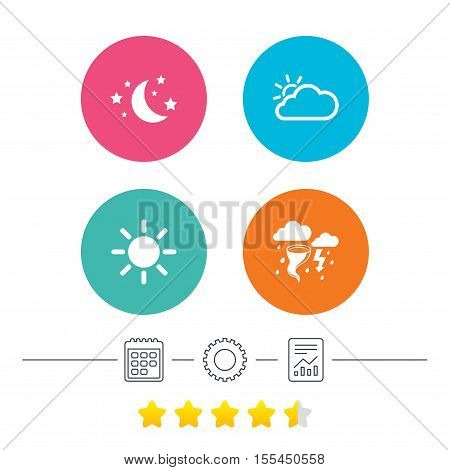 Weather icons. Moon and stars night. Cloud and sun signs. Storm or thunderstorm with lightning symbol. Calendar, cogwheel and report linear icons. Star vote ranking. Vector