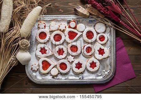 Christmas Cookies with Strawberry Jam on a Silver Platter