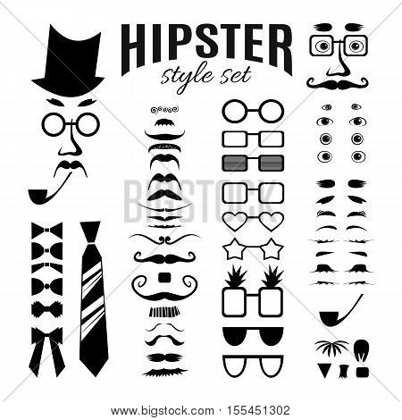 Hipster style infographic elements and icons set for retro design. Hipster construction with collection of eyes, eyebrows, moustaches, glasses, beards, bow ties, a tie and a pipe. Vector illustration