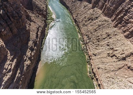 Flowing slit in the Colorado River near Page, Arizona.