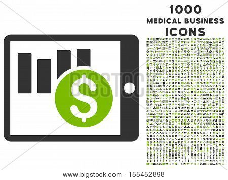 Sales Chart on Pda vector bicolor icon with 1000 medical business icons. Set style is flat pictograms, eco green and gray colors, white background.