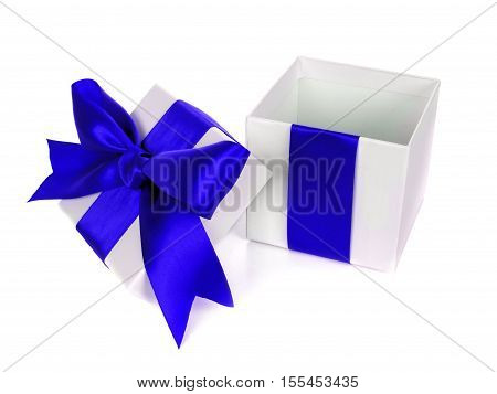 Opened, Empty, White Christmas Gift Box With Lid Blue Bow And Ribbon