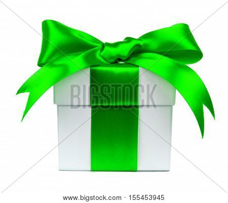 White Gift Box Wrapped With Vibrant Green Bow And Ribbon Isolated On White