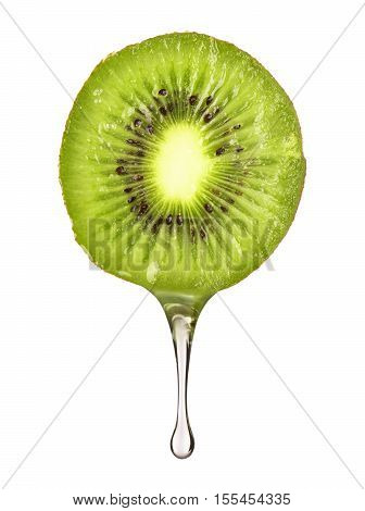 drop flowing from fresh sliced kiwi on white background