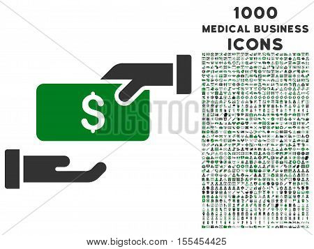 Bribe vector bicolor icon with 1000 medical business icons. Set style is flat pictograms, green and gray colors, white background.