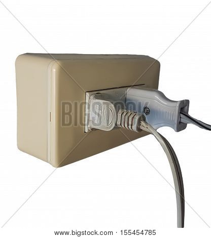 Electric receptacle in use isolated on white background