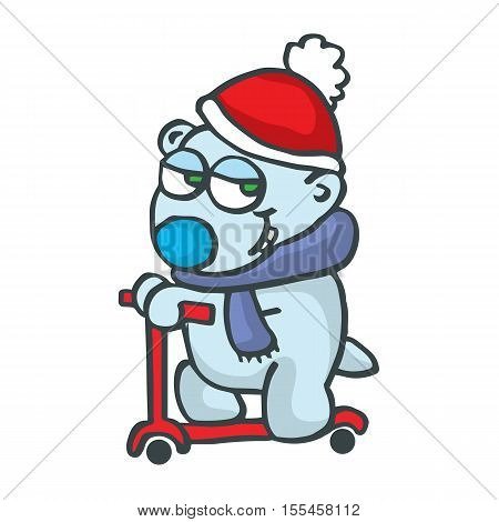 Polarbear with scooter cartoon design collection stock