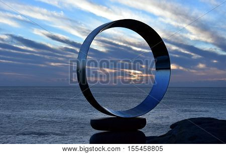 Sydney Australia - Nov 6 2016. Koichi Ishino: Mountains Air- Circles. Sculpture by the Sea along the Bondi to Coogee coastal walk is the world's largest free to the public sculpture exhibitions.