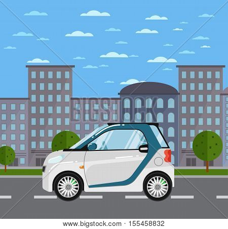 Compact white smart coupe on road in city vector illustration. Urban cityscape background with skyscrapers. Small compact eco citycar. Modern automobile. People transportations.