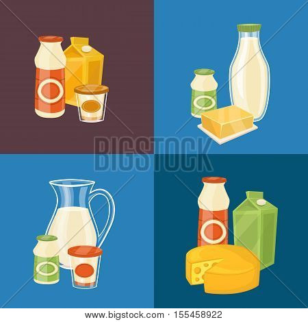 Assortment of different dairy products, isolated square composition on color background, vector illustration. Nutritious and natural healthy food. Organic farmers products concept. Dairy icons.
