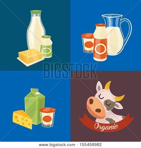 Assortment of different dairy products, isolated square composition on color background, vector illustration. Organic logo with cartoon cow. Nutritious and natural healthy food. Dairy icons.