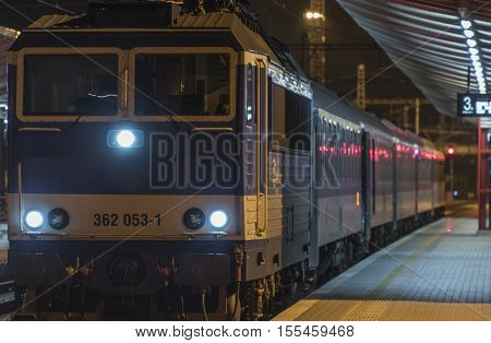 Fast train in Veseli nad Luznici station in night