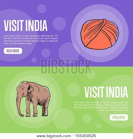 Visit India horizontal banners. Sikh turban dastar and elephant hand drawn vector illustrations. Web templates with country related doodle symbols. For travel company landing page design