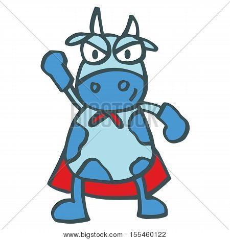 Super cow strong cartoon design for kids vector