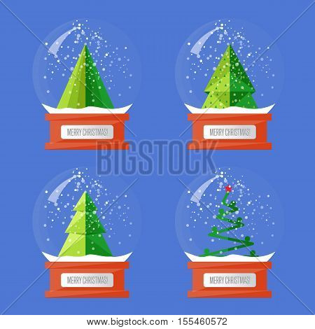 Christmas snow globes. Variety forms Christmas trees abstract vectors. Glass souvenir with Xmas attributes and characters. Merry Christmas and Happy New Year concepts set isolated on blue