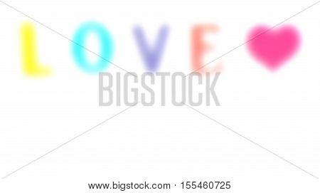 blurred love on white background with red heart