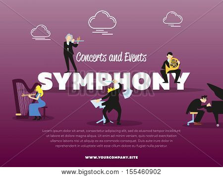Concerts and events symphony orchestra banner vector illustration. Conductor, pianist, trumpeter, harpist characters with instruments. Conductor directing symphony orchestra with performers.