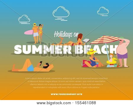 Holidays on summer beach banner vector illustration. Man with smartphone sunbathes on beach under the sun. Family with little son. Girl in red swimsuit sunbathes. Couple with surfboard walking