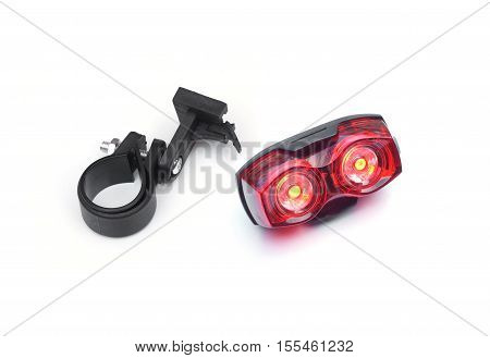 Bicycle rear light reflector isolated on white