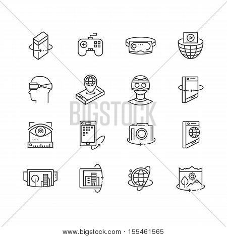 Virtual reality technologies line icon. 360 degree view, virtual reality goggles and headset, rotation arrows, interactive games, virtual world travel, augmented reality gadget vector icon. Virtual reality icon, vr glasses icon, virtual reality headset poster