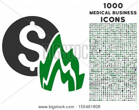 Fire Disaster Price vector bicolor icon with 1000 medical business icons. Set style is flat pictograms, green and gray colors, white background.