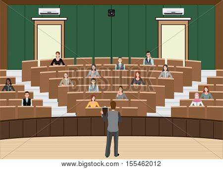 Businessman Conference or Presentation at Audience conference hall interior building Diverse people character flat design vector illustration.