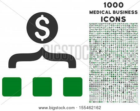Money Aggregator vector bicolor icon with 1000 medical business icons. Set style is flat pictograms, green and gray colors, white background.