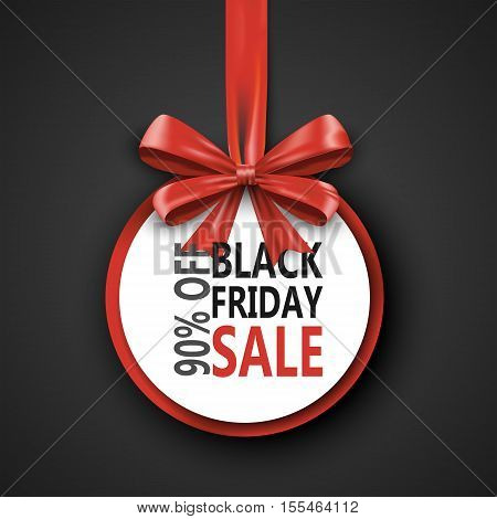 Black Friday sale inscription design template. Black Friday banner with bow ribbon. Discount 90 special off design banner. Shopping promotion poster. Vector illustration concept eps10