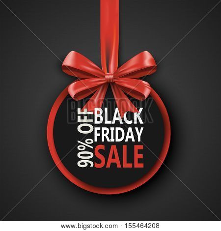 Black Friday sale inscription design template. Black Friday banner with bow ribbon. Discount special off black friday design banner. Shopping black friday promotion poster. Vector illustration concept