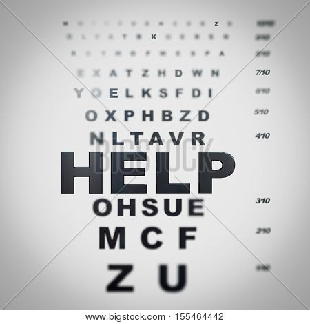 Blurred eye chart with the word help on focus