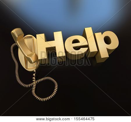 3D rendering of an unhooked golden telephone with the word help