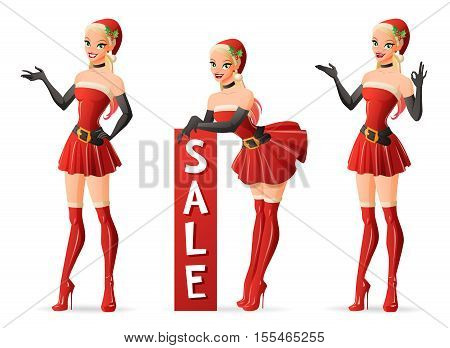Set of beautiful pinup girls in red sexy Santa Claus costume in different poses. Cartoon style vector illustration isolated on white background.