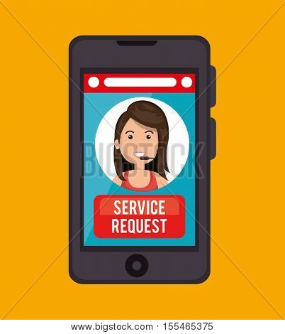 service request call center girl vector illustration eps 10