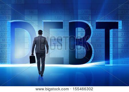 Businessman in debt business concept
