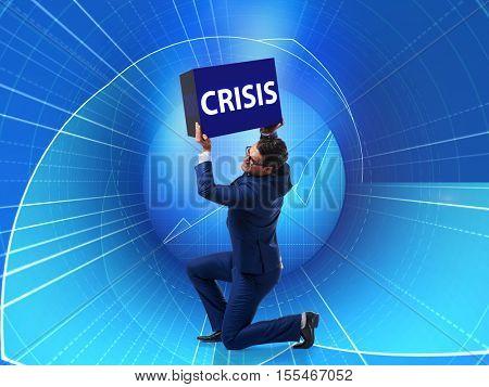 Businessman in crisis business concept
