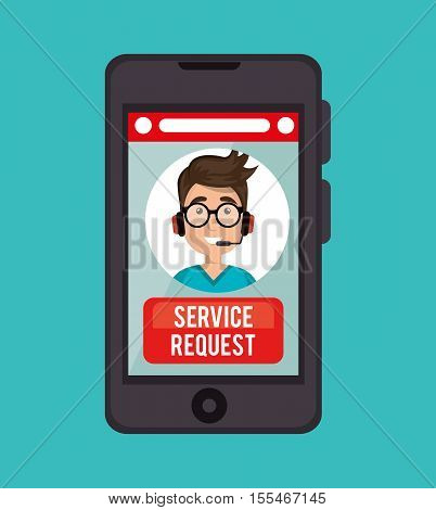 guy operator call center service request online vector illustration eps 10