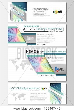 Social media and email headers set, modern banners. Business cover template, easy editable vector, flat layout in popular sizes. Colorful background with abstract waves, lines. Bright color curves. Motion design.