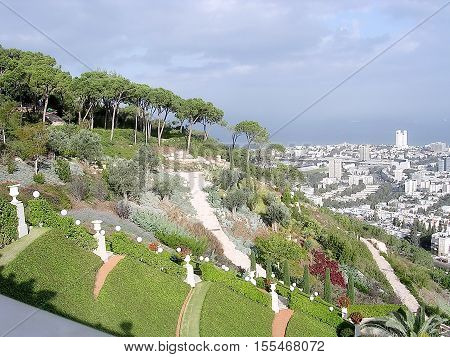 Upper Terraces of Bahai Gardens in Haifa Israel