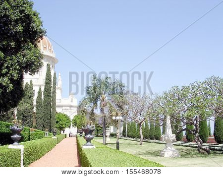 The beautiful alleya of Bahai Gardens in Haifa Israel