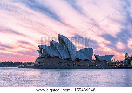 Sydney Opera House at sunrise in Sydney Australia.NOV 11,2016 The Sydney Opera House is a famous arts center.Over 10 millions tourists visit Sydney a year.