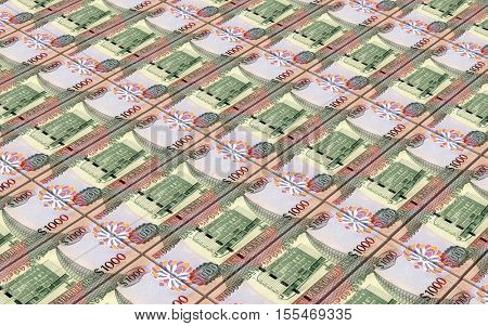 Guyanese dollar dollar bills stacks background. 3D illustration.
